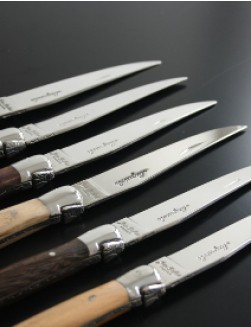 Jean Dubost Laguiole 12 Mixed Wood Knives